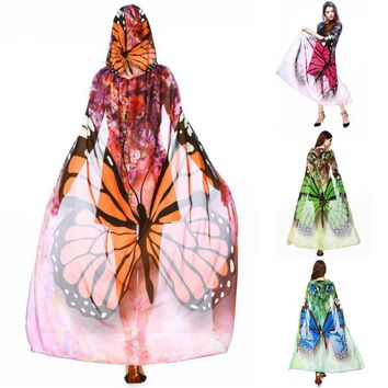 Mesh Butterfly Hooded Cape Robe Cosplay Dance Costume Rave Wear Halloween