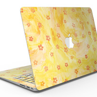 Cute Watercolor Flowers over Yellow - MacBook Air Skin Kit