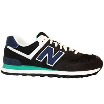 New Balance 574 Core Plus - Black/Blue Suede Running Sneaker