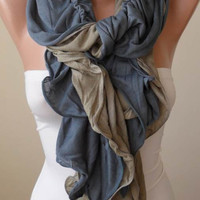 New - Christmas Gift - Trendy - Ruffle Scarf -  Gray and Light Brown - Combed Cotton Scarf