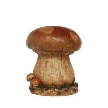 "13"" Distressed Brown  Green and Tan Mushroom Stool Outdoor Garden Patio Statue"
