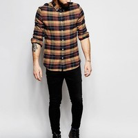 ASOS | ASOS Shirt In Camel Check In Regular Fit at ASOS
