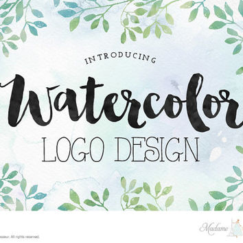 custom watercolor logo design custom logo design business logo wedding monogram logo design wordpress blog logo website logo blog header