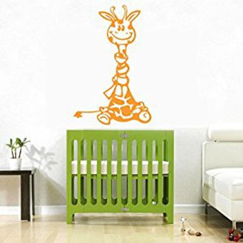 Wall Decal Vinyl Sticker Decals Art Decor Design Funny Cute Giraffe Toys Animal Kids Children Nursery Custom Name Gift bedroom (r704)