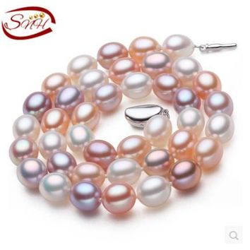 SNH Natural Freshwater Pearl Necklace Mixed Color Real Pearl Necklace with Sterling Silver Clasp