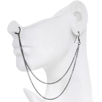 """Handcrafted Pirate Booty Black Plated Ear to Nose Chain 20 Gauge 5/16"""""""