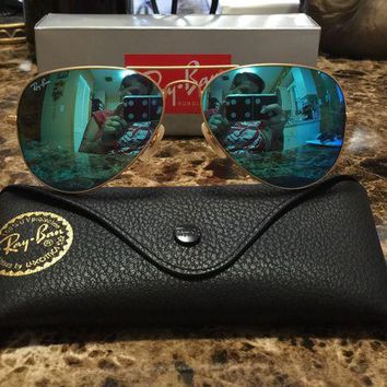 RayBan Ray-Ban Aviator Gold Frame Baby Blue Lens Sunglasses Blue