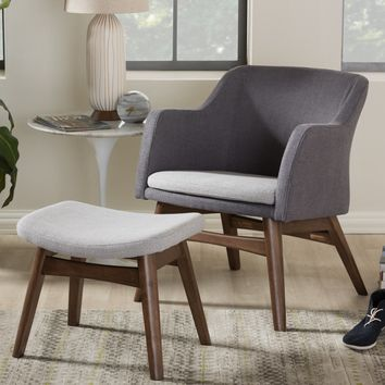 Baxton Studio Vera Mid-Century Modern Two-Tone Grey Fabric Lounge Chair and Ottoman Set Set of 1