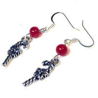 Red Glass Candy Cane Charm Earrings