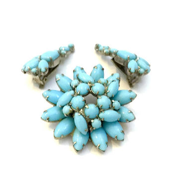 Turquoise Blue Opaque Rhinestone Demi, Brooch & Earrings, Turquoise Marquis Rounds and Large Baguettes, Silver Tone Metal, Vintage Set