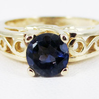 Blue Sapphire 14k Yellow Gold Round Filigree Ring, September Birthstone Ring, Sapphire Engagement Ring, Sapphire Filigree Ring