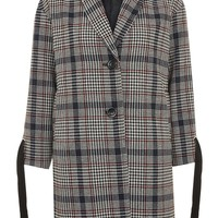 Lace Up Sleeve Checked Coat