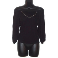 Womens Black Altered Fashion Top with Silver Chain Accent Piece Womens Clothing Small