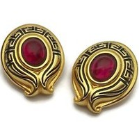 Vintage Fendi Gold Plated Red Gripoix Glass Cabochon Clip On Earrings Signed