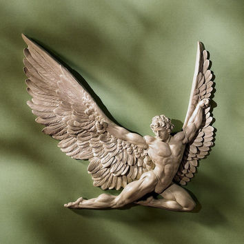 "Icarus Beautiful Greek God Stone Wall Sculpture, Dimensions: 11""Wx1.5""Dx11""H"