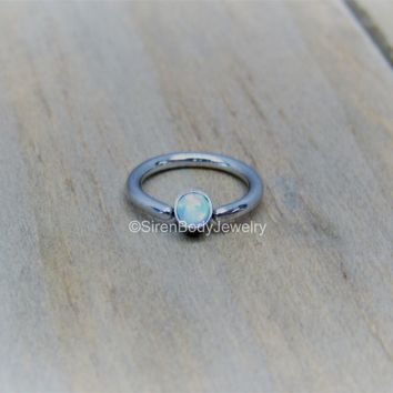 """Opal captive bead ring 16g 5/16"""" 316L stainless steel helix piercing hoop cartilage jewelry"""