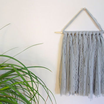 Gray Lace Wall Hanging Shabby Chic Nursery Decor Baby Girl Nursery Boho Nursery Boho Chic Home Decor Bohemian Nursery Wall Hanging