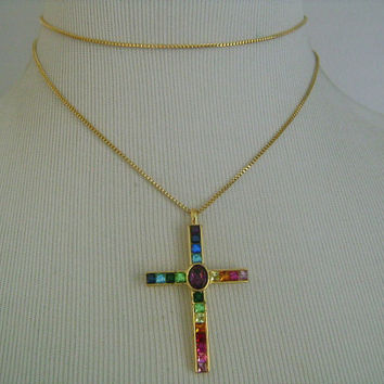 """PSCO """"Plainville Stock Company"""" Gold Plated Multi-Color Rainbow Colors Oval Square Princess Cut/Shaped Crystals Cross Pendant Chain Necklace"""