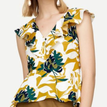 Summer women's new printed v-neck short-sleeved top