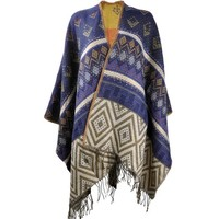 ZLYC Women Soft Geometric Aztec Blanket Shawl Wrap Scarf Poncho with Fringe Trims