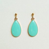 Teardrop Earrings, Turquoise Green Teardrop Earrings, Pastel Green, Resin Teardrop Earrings, Hypoallergenic, Bridesmaid, Resin Jewelry