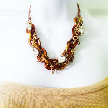 Chunky steam punk copper chain rhinestone statement necklace and earring set
