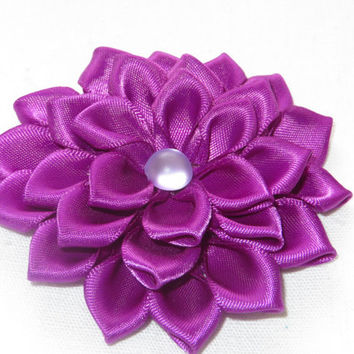 "Purple  Hair Clip 3"". Hair Flower. Satin Hair Flower. Ribbon Flower. Purple  Flower Clip. Kanzashi Flower..Hair clip< child<adult."