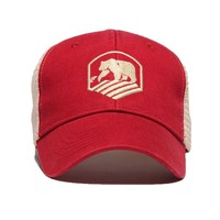 Bear Crest Activewear Trucker Hat in Red by The Normal Brand
