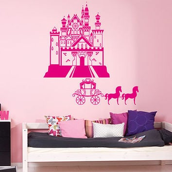 kik940 Wall Decal Sticker Castle Princess Cinderella carriage horses children's room