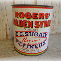 vintage ROGERS GOLDEN SYRUP tin / rare 5 lb can from vancouver, canada