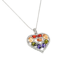 .925 Sterling Silver Multicolor Dangling Necklace