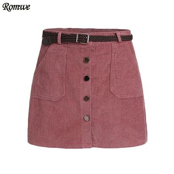 ROMWE Pencil Skirts Womens 2016 Autumn Casual Pink Corduroy Single Breasted Pockets Bodycon Mini Skirt With Belt