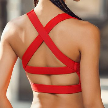 Sport Bra Solid Cross Strap Black Yoga Bra Women Padded Push Up Sports Bra Quick Dry Fitted Gym Workout Fitness Crop Top Bras