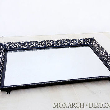 Vintage Ornate Metal Filigree Mirrored Perfume Vanity Tray - Black Shabby Chic Design Framed Mirror