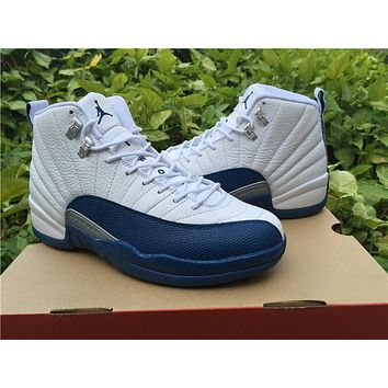 """Copy of Air Jordan 12 """"French Blue""""while/blue Basketball Shoes   41---47"""