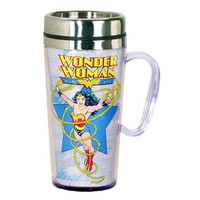 WONDER WOMAN COMIC WHITE INSULATED TRAVE