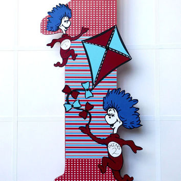 Dr Seuss Party Decor!!!  Dr Seuss Theme 18 inch wood letter number 1, wall letter, birthday decor, party decor, one I am, I am one!