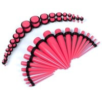 BodyJ4You Gauges Kit 18 Pairs Pink Acrylic Tapers & Plugs 14G 12G 10G 8G 6G 4G 2G 0G 00G 36 Pieces
