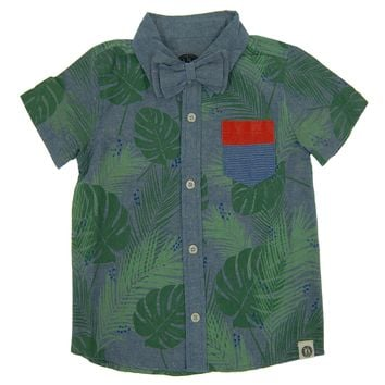 Tropical Forest Bow Tie Button Down Shirt by: Mini Shatsu