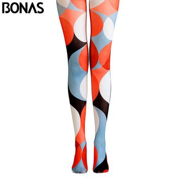 Geometry Pantyhose Streetwear Cotton Tights 3D Print Collant Pantyhose Sexy Nylon Tights Collant