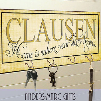 Personalized Family Name Key Holder Plaque with 4 Hooks * * Customize with Family Name * * Housewarming, Wedding, Anniversary Gift **