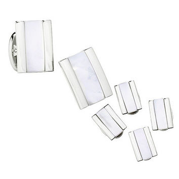 Thick Rectangle Gemstone Tuxedo Formal Set - Cufflinks and Studs