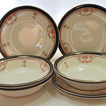 Dinnerware Set Blue Cobalt and Gold Alfred Meakin Bleu de Roi Dishes , Set of Plates and Soup Bowls from England