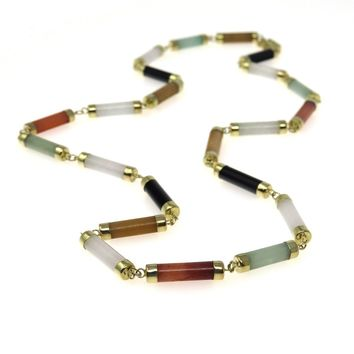 Multi-color Jadeite Jade 14k Gold Necklace, Vintage, 1930s to 1980s