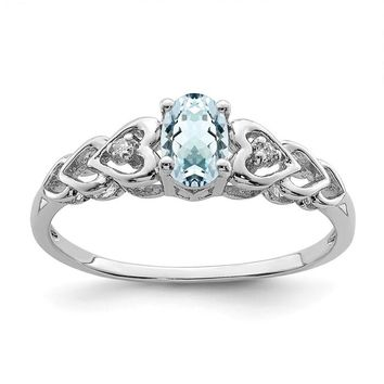 Sterling Silver Genuine Aquamarine & Diamond Hearts Ring