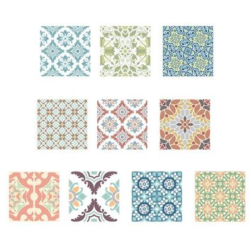 10pcs Retro Washable Tile Stickers Colorful Bathroom Kitchen Wall Stickers Antibacterial Anti-mildew Home Decoration 20 x 20cm