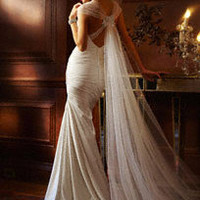 Satin Gown with Cascading Train and Floral Detail  - David's Bridal