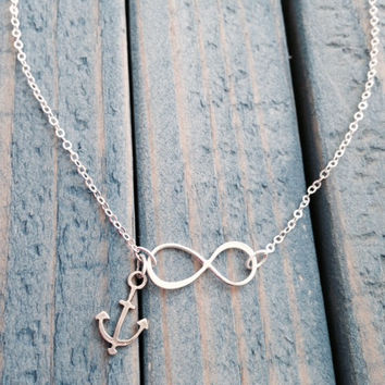 Sideways Sterling Silver Infinity Necklace with Anchor