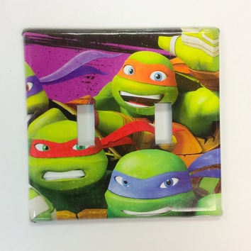 TMNT Light Switch Cover ,Double Switch Plate,TMNT Boy Bedroom Decor