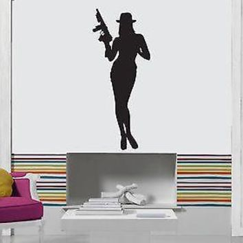 Wall Stickers Vinyl Decal Hot Sexy Girl Gangster Woman Weapons Mafia Unique Gift z1027